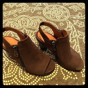 Brown open toe pumps